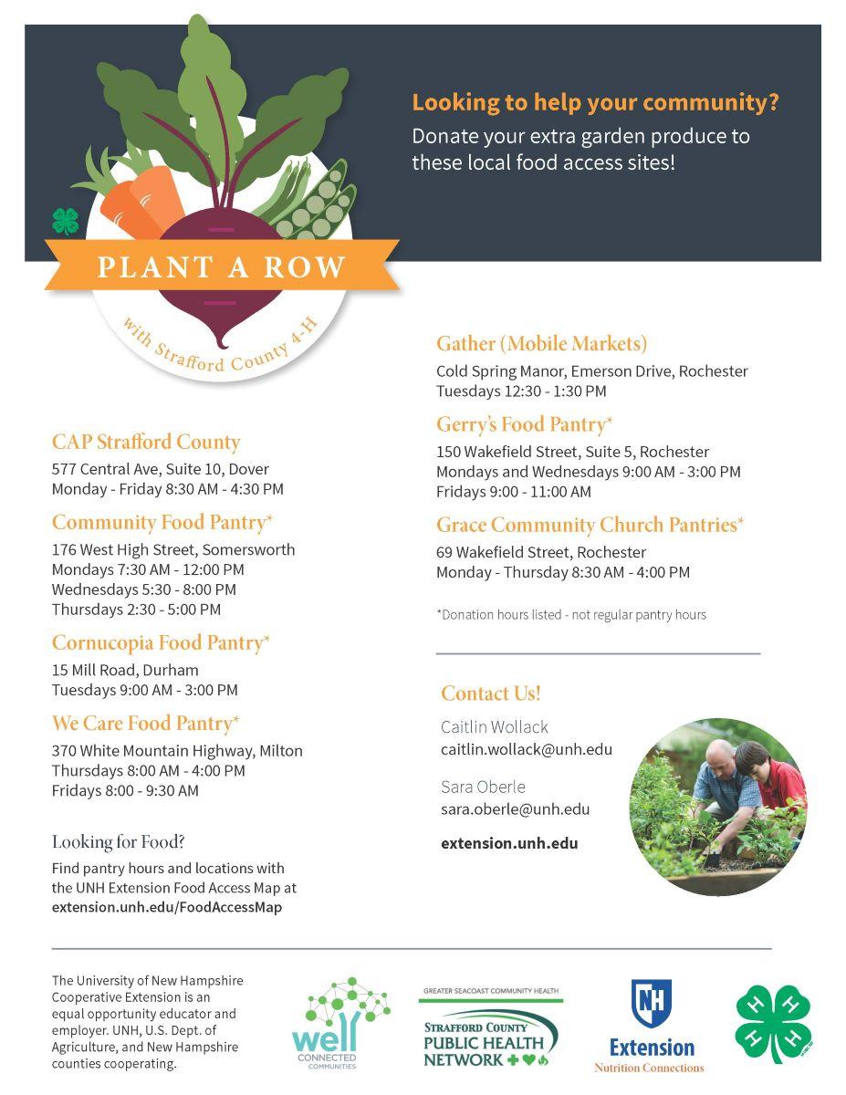 Plant a Row - Strafford County -pantry info 20210709